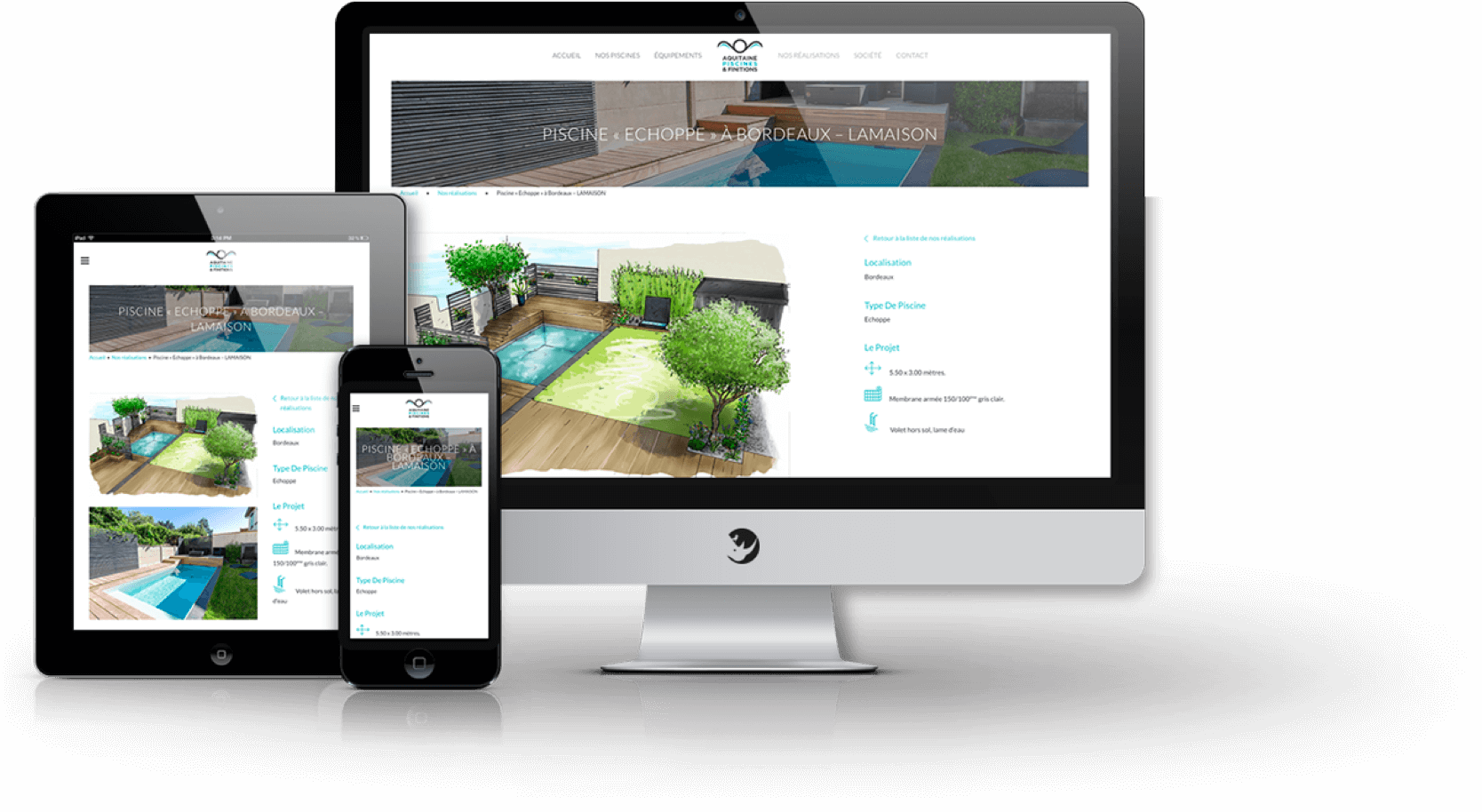site web responsive aquitaine piscines finitions