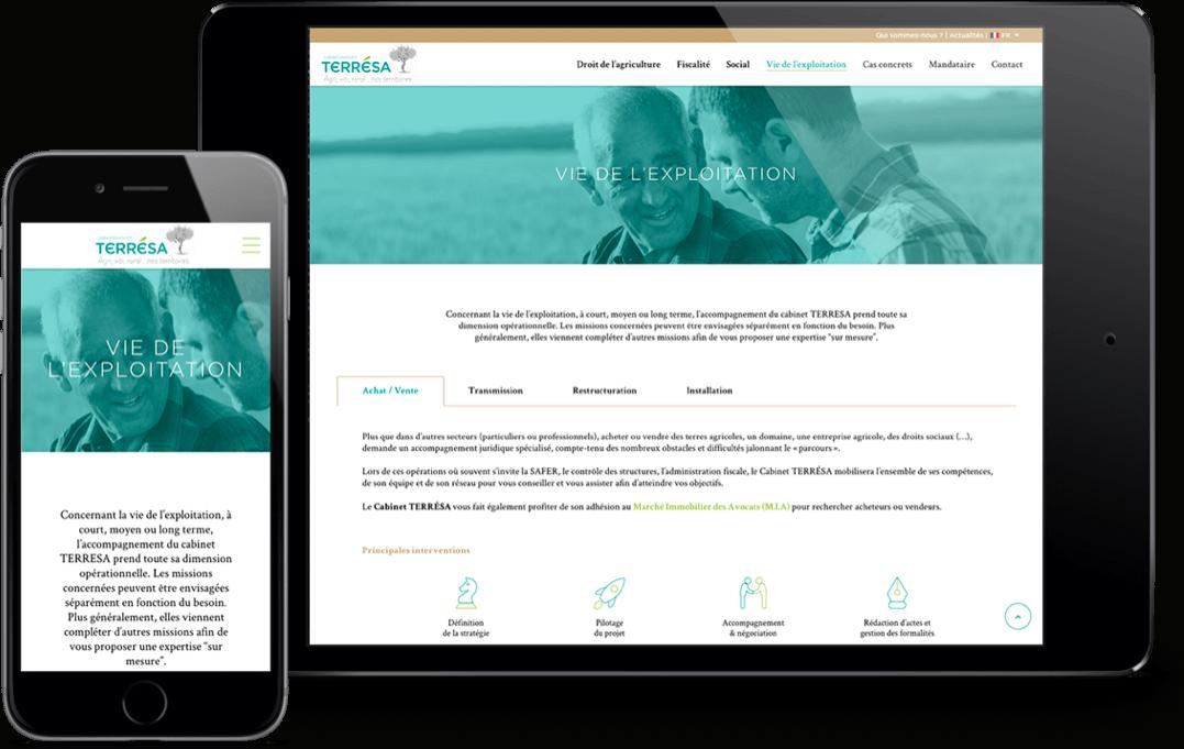 responsive site web mobile et tablette terresa avocats